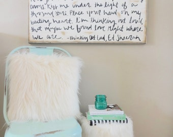 Thinking out loud lyrics black and white rustic wood sign