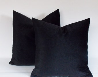 SET 2/ Velvet Black Pillow cover,Decorative pillow,Throw pillow,16,18,20,22,24,26,28,30.... inches