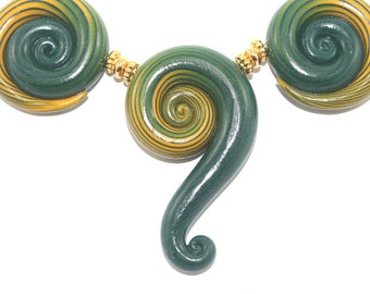 Big ombre handmade beads for Jewelry making, Polymer Clay green and yellow beads, spiral beads with stripes, 3 elegant gradient spiral beads