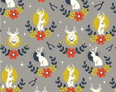 Jackalope Shroom by Arleen Hillyer Birch Fabrics Tall Tales Birch Organic Organic Cotton Gray Rabbits Red Floral Jackalope Fabric