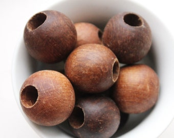 27 mm Wooden textured beads 50 pcs with big hole - 8 mm - natural, ECO-FRIENDLY beads - welded in olive oil