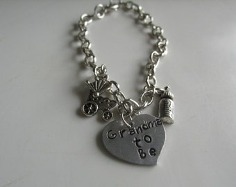 Grandma to Be Charm Bracelet, Stamped Announcement