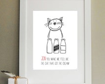 Cat That Got The Cream Valentine Print/ Valentine's Day Gift/ Gift for Valentine/ Gift for Wife/ Gift for Husband