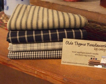 Homespun Fabric Bundle-Black and Tan #1