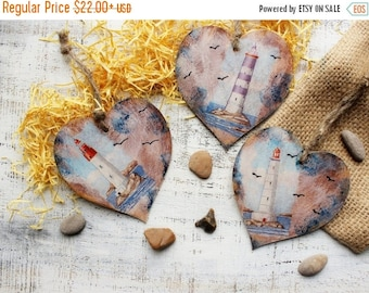 CHRISMAS IN JULY 23-25.7 Nautical wooden heart ornaments Valentines day vintage retro rustic blue off white wedding favors bridal shower lig