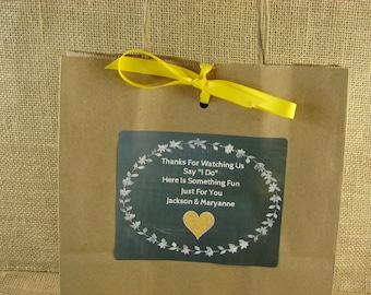 Wedding Kid's Activity Bags - Chalk Heart and Laurel Design - Choose Your Color - ANY OCCASION - clh1