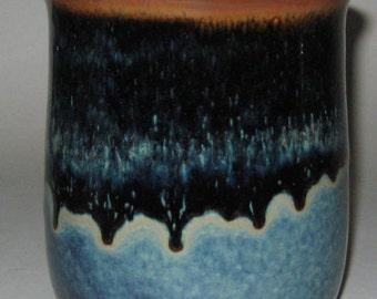 Pottery Spoon Jar in Starry Night Blue, Handmade Utensil holder