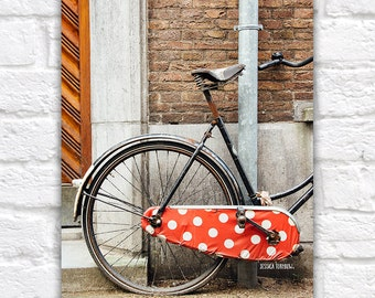 Amsterdam Photography, Bicycle in Amsterdam, Red Polka Dot, Brown Brick Wood Wall, Urban Art, Bike Art, Dutch Bicycle, Red, Brown, Large Art