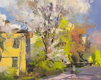 Modern City Painting, Impressionist Original Landscape Oil Painting, Spring Tree Oil Art Canvas Painting