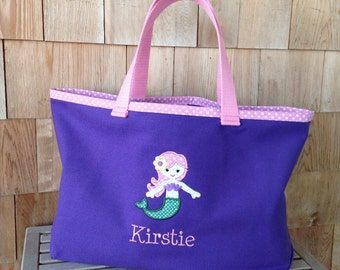 Kids Personalized Purple Canvas Tote with Mermaid Design