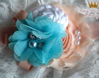 Sweet as Pie - Headband, Baby Headband, Photography Prop, Couture Headband, Hair Clip, Spring Headband, Shabby Chic Headband, Peach