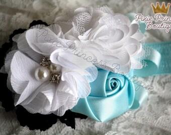 x { Classic Alice } Headband, Baby Headband, Photography Prop, Couture Headband, Hair Clip, Alice Headband, Wonderland Headband, White Blue