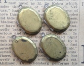 Oval Lockets - Vintage Brass, Two-Toned - Plain, Flat Fronts - Grungy, Tarnished, Old - Qty 4