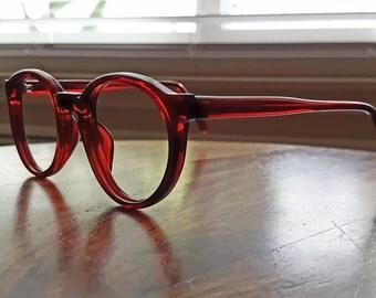 Red Round Eyeglasses Vintage BOHO - Nerdy, Geeky, Fun 46/20