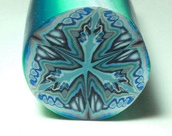 Blue/green complex polymer clay cane