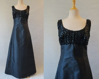 Black Silk Shantung Beaded Evening Gown - 1960s