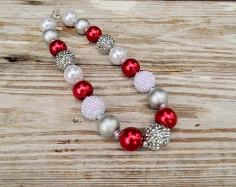 Christmas Necklace, Silver Red Baby Girls Christmas Necklace Christmas Bubblegum Necklace  Christmas Girls Chunky Necklace Childrens Jewelry