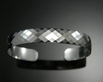 Sterling Silver Cuff Bracelet, Faceted Sterling Silver, Heavy Silver Cuff Bracelet