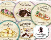 75% OFF SALE Digital Collage Sheet Circle FRENCH Patisserie 2.5 inches Scrapbooking Digital Tags Instant download
