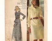 """A Long Sleeve, Collar, Patch Pocket, Front Zip or Front Buttoned Shirt Dress Pattern for Women: Uncut - Size 18, Bust 40"""" • Simplicity 5151"""