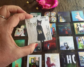 1 Hand Embellished Elemental Art Card Selected Randomly by Sheila Cameron