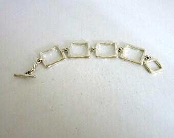 Block Link Bracelet Hammered Silver Tone