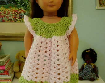 "Sweet Pea & Pink Crochet Dress for your 18"" Doll"