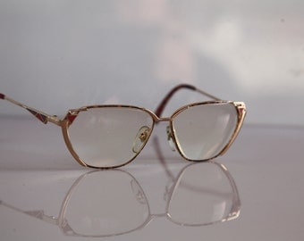 Vintage REMO eyewear, Gold Frame,  Multi-Color pattern, Clear Lenses RX Prescription . Rare Piece. Made in Italy