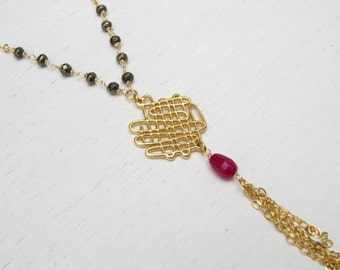 Pyrite bead necklace, Gold mesh necklace, Gold tassel necklace