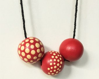 Amanita Necklace - Red and White Hand-Painted Dot Bead Necklace - Spotted Toadstool Jewelry