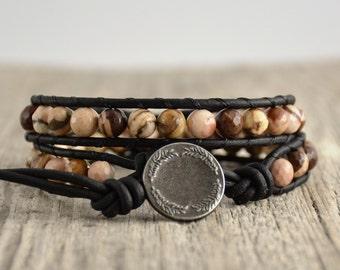 Boho wrap bracelet. Double wrap beaded leather bracelet. Natural stone jewelry