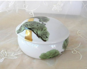 End of Summer Sale Japanese Porcelain Box with Lid, Green Bonsai, Gold Tree Trunks, White, Black and Red Crane, Trinket Box, Stash, Cash