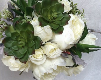 Artificial Silks Peonies Roses Succulents Cream Green Hand Tied Wedding Bouquet
