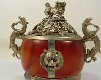 Vintage Chinese Lion and Dragon Incense burner. Tibetan Silver and glass.