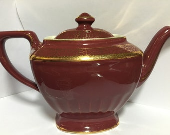 Hall teapot, vintage unused condition burgundy with gold gilt, great wedding gift