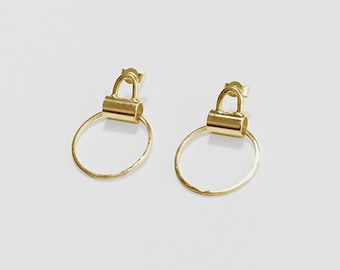 Gold Tube Handle Earrings