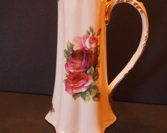 Tall Porcelain Pitcher with Roses and Gold Trim