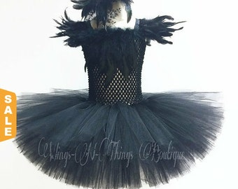 BLACK CROW COSTUME 2pc Set, Tutu Dress, Swan Lake, Feather Hair Clip, Girls, Halloween, Toddler, Ballet, Pageant, Outfit, Ballerina, Kids