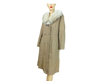 Fox Collar Coat Vintage 70's Camel Wool Midi Coat Real Fur Collar Double Breasted Marshall Fields