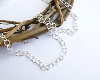 Sterling Silver Unfinished 3.5mm Cable Chain...  12 inches... 18 inches... 24 inches... 3 ft... great for extensions