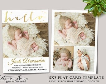 Birth Announcement Template, Photography Photoshop 5x7in Card Template, sku 16-3