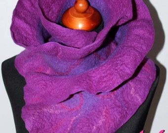Handmade Merino Wool Felted Ruffle Purple Scarf Wearable Art