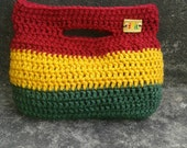 ILA Rastafari Grassroots Crochet Clutch Purse (Hobo shape) Green gold red reggae Ethiopian colours bag, army green