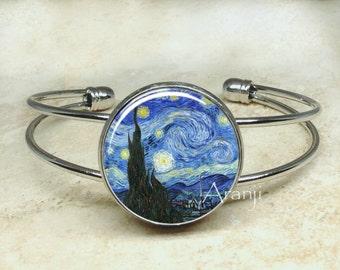 Vincent Van Gogh's The Starry Night bracelet, fine art bracelet, Starry Night bracelet, Starry Night jewelry, Van Gogh jewelry AR145B
