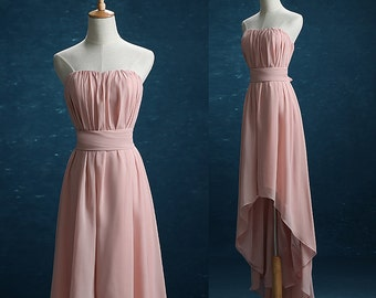 Dusty Rose Bridesmaid dress, High-low Wedding dress, Chiffon dress, Party dress, Formal Dress, Prom dress