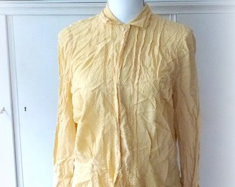 yellow black point blouse -  old vintage clothing from the 70s
