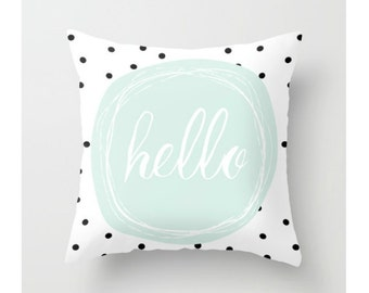 Hello Throw Pillow, Mint, Decorative Pillow, Cushion, Kids Pillow, Typography, Modern Pillow Cover, Home Decor, Nursery Decor, Geometric