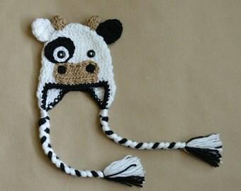 Cow Earflap Hat Beanie Farm Animal Handmade Cowgirl Cowboy Crochet Baby Toddler Boy Girl Photo Prop Custom Made