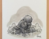 "Original, signed ""Wookiee the Chew"" drawing - ""'So Many Thinks,' Thunk Chew"" by James Hance"