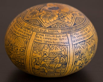 Incredible Historic Etched Story Gourd with Amazing Details